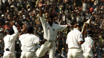 Harbhajan Singh claims the wicket of Ricky Ponting