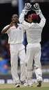 Denesh Ramdin congratulates Daren Powell on the wicket of Alastair Cook, West Indies v England, 5th Test, Trinidad, March 6, 2009