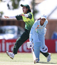 Nain Abidi unsuccessfuly appeals for the run-out of Anagha Deshpande