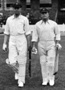 Bill Woodfull walks out to bat with Charles Macartney, South of England v Australia, Bristol, May 26-28, 1926