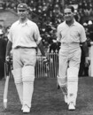 Jack Hobbs and Herbert Sutcliffe walk out to open the innings