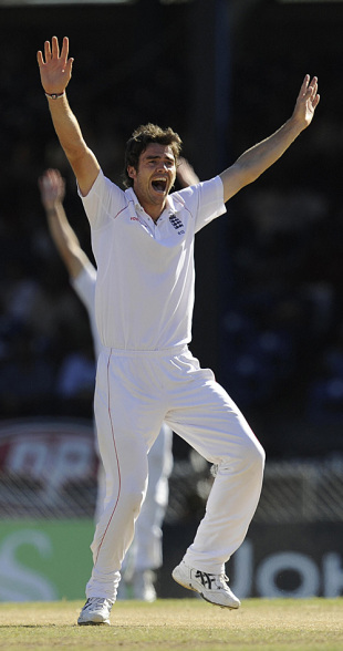 James Anderson appeals in vain for Devon Smith's wicket, West Indies v England, 5th Test, Trinidad, March 7, 2009