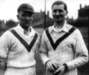 Harold Larwood and Sam Staples take a break from practice at Trent Bridge, April 16, 1935