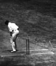 Bill Woodfull is bowled by Harold Larwood