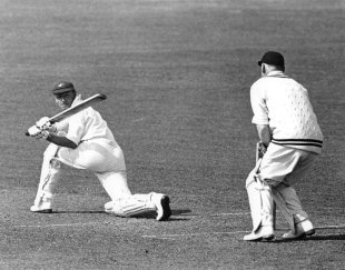 Don Bradman sweeps one fine, 1938