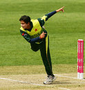 Sajjida Shah delivers the ball, England v Pakistan, Group B, women's World Cup, Sydney, March 12, 2009