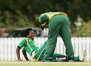 South Africa's physio inspects Marcia Letsoalo's injury, New Zealand v South Africa, Group A, women's World Cup, Bradman Oval, Bowral, March 12, 2009