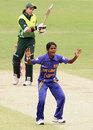 Udeshika Prabodhani appeals for a wicket, Pakistan v Sri Lanka, 5th match, women's World Cup, Manuka Oval, Canberra, March 9, 2009