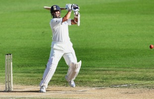 Sachin Tendulkar hits off the back foot, New Zealand v India, 1st Test, Hamilton, 2nd day, March 19, 2009