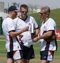 Lancashire's new coach Peter Moores discusses his plans with Glen Chapple and Gary Yates, Lancashire v Sussex, Pro Arch Trophy, Abu Dhabi, March 19, 2009