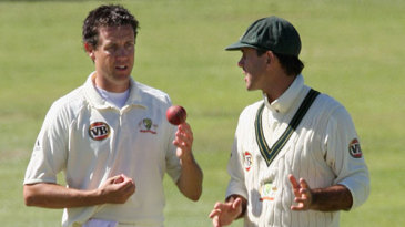 Ricky Ponting has a chat with Bryce McGain