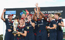 The England squad on the podium with the trophy