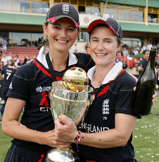 Charlotte Edwards and Claire Taylor with the World Cup, England v New Zealand, women's World Cup final, Sydney, March 22, 2009