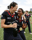 Caroline Atkins and Ebony-Jewel-Rainford-Brent cannot contain their excitement, England v New Zealand, women's World Cup final, Sydney, March 22, 2009