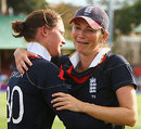 Charlotte Edwards is overcome with emotion as she hugs Sarah Taylor
