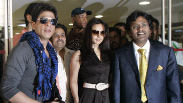Shah Rukh Khan, Preity Zinta and Lalit Modi after an emergency IPL meeting