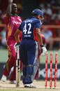 Ravi Bopara is bowled by Lionel Baker, West Indies v England, 2nd ODI, Providence