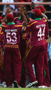 West Indies congratulate eachother on winning the second ODI against England, West Indies v England, 2nd ODI, Providence