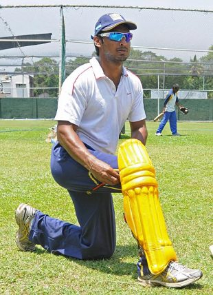 Kumar Sangakkara pads up during an inter-provincial Twenty20 match, SSC, Colombo, March 26, 2009