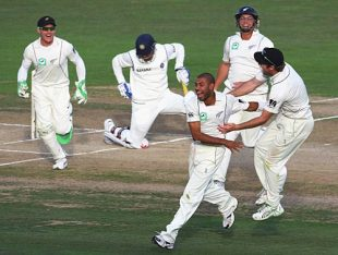 Team-mates rush in to congratulate Jeetan Patel on picking up Virender Sehwag's wicket, New Zealand v India, 2nd Test, Napier, 3rd day, March 28, 2009