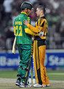 Michael Clarke congratulates Johan Botha after the win, South Africa v Australia, 1st Twenty20 international, Johannesburg, March 27, 2009