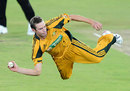 An acrobatic Ben Laughlin has a shy at the stumps, South Africa v Australia, 2nd Twenty20, Centurion, March 29, 2009
