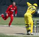 Uganda's Joel Olwenyi is bowled by Morten Hedegaard, Denmark v Uganda, ICC World cup Qualifiers warm-up match, Benoni, March 29, 2009
