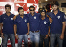 RP Singh, Rohit Sharma, Pragyan Ojha, D Ravi Teja and Shoaib Ahmed model the new Deccan Chargers official outfit, Hyderabad, April 1, 2009