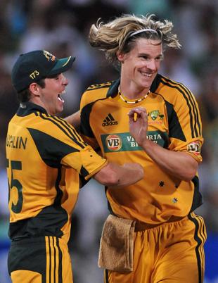 Ben Laughlin celebrates with Nathan Bracken, South Africa v Australia, 1st ODI, Durban, April 3, 2009