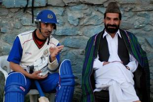 Raees Ahmadzai of Afghanistan awaits his turn to bat, April 2009