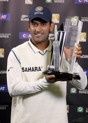 MS Dhoni holds aloft the series trophy, New Zealand v India, 3rd Test, Wellington, 5th day, April 7, 2009