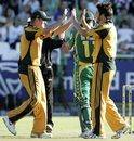 Brett Geeves celebrates Jacques Kallis' wicket, South Africa v Australia, 3rd ODI, Newlands, Cape Town, April 9, 2009