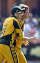 Michael Hussey congratulates Shane Harwood on his first ODI wicket, South Africa v Australia, 4th ODI, Port Elizabeth, April 13, 2009