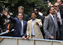 Lalit Modi and Ravi Shastri wave to members of the public