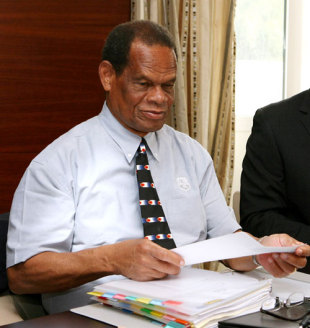 Julian Hunte, the West Indies board chairman, at the ICC executive  meeting, Dubai, April 18, 2009