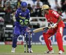 B Akhil is undone by Shane Warne's legspinner, Bangalore Royal Challengers v Rajasthan Royals IPL, 2nd game, Cape Town, April 18, 2009