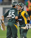 Misbah-ul-Haq celebrates the win with Umar Gul, Pakistan v Australia, 1st ODI, Dubai, April 22, 2009