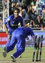 Kamran Khan watches Swapnil Asnodkar run out Karan Goel, Rajasthan Royals v Kings XI Punjab, Cape Town, April 26, 2009
