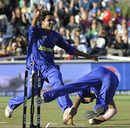 Kamran Khan celebrates Karan Goel's run-out, Rajasthan Royals v Kings XI Punjab, Cape Town, April 26, 2009