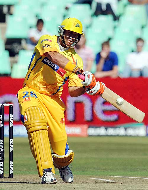 Matthew Hayden muscles the ball