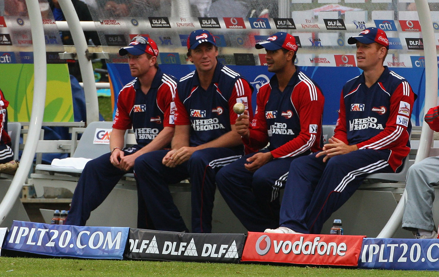 Excess baggage: past his prime, McGrath (second from left) had to deal with being benched in the IPL