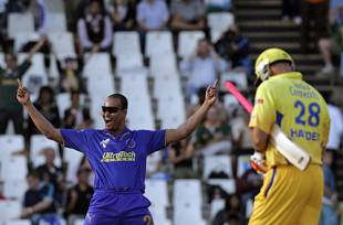 Yusuf Pathan's on top of the world after dismissing Matthew Hayden, Chennai Super Kings v Rajasthan Royals, IPL, 22nd match, Centurion, April 30, 2009