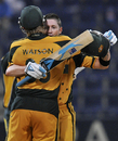 Michael Clarke gets a hug from Shane Watson on getting to his century, Pakistan v Australia, 4th ODI, Abu Dhabi, May 1, 2009