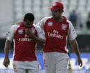 Yusuf Abdulla gets a word of encouragement from captain Yuvraj Singh, Kings XI Punjab v Rajasthan Royals, 30th match, IPL, Durban, May 5, 2009