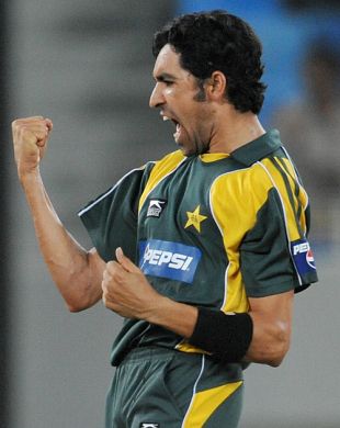 Umar Gul is ecstatic after picking up another wicket, Pakistan v Australia, only Twenty20 international, Dubai, May 7, 2009