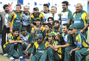 The victorious Pakistan team pose with the trophy, Pakistan v Australia, only Twenty20 international, Dubai, May 7, 2009