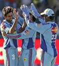 Dhawal Kulkarni is congratulated by team-mates after dismissing Robin Uthappa, Royal Challengers Bangalore v Mumbai Indians, IPL, Port Elizabeth, May 10, 2009
