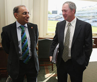 Haroon Lorgat chats with Tim May at the ICC Committee meeting, Lord's, May 11, 2009