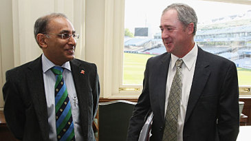 Haroon Lorgat chats with Tim May at the ICC Committee meeting