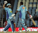Sachin Tendulkar and Dwayne Bravo are delighted with Mumbai's victory, Kings XI Punjab v Mumbai Indians, IPL, Centurion, May 12, 2009